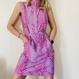 Pappagallo Pink Tess Ruffle Neck Sleeveless dress